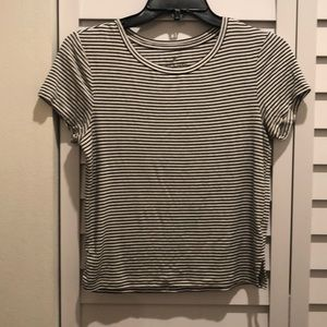 Black and white stripped American eagle shirt